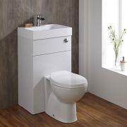 Rond Toilet met ingebouwde wastafel - 50cm x 86cm x 87,5cm