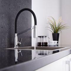 Design Keukenmengkraan met flexibele uitloop - Zwart /Chroom - Ronde Uitvoering