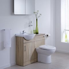 BASIC Wastafelmeubel & Toiletcombinatie 94cm x 82cm x 81cm (rond)