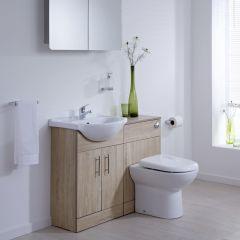 BASIC Wastafelmeubel & Toiletcombinatie 104cm x 85cm x 81cm (rond)