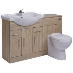 BASIC Wastafelmeubel & Toiletcombinatie 124cm x 85cm x 81cm
