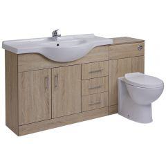 BASIC Wastafelmeubel & Toiletcombinatie 144cm x 88cm x 82cm (ronde uitvoering)