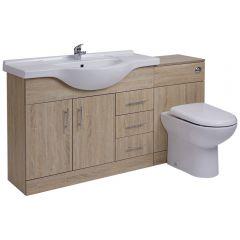 BASIC Wastafelmeubel & Toiletcombinatie 144cm x 88cm x 82cm