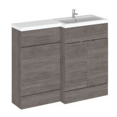110cm x 35,5cm Modern Bruin/Grijs Staand Wastafel & Toiletmeubel-combinatie - Rechter Uitvoering