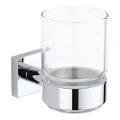 Serie 75 - Glashouder met Glas - Helder glas / Chroom