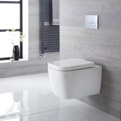 Longton Hangend Keramiek Toilet incl WC Bril Vierkant Wit