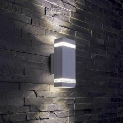 Architect Op- & Neerwaartse Buitenlamp - Gehoekt - Zilver