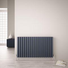 Revive Air Horizontale Aluminium Dubbelpaneel Designradiator 60cm x 107cm x 7,6cm Antraciet 2067 Watt