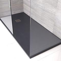 Kunststenen Douchebak + Doucheputje Rechthoek 140cm x 80cm x 3cm Antraciet