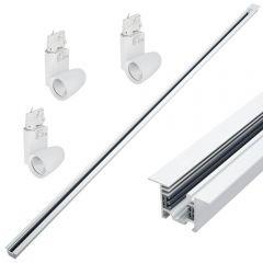3 x 25W LED Railverlichting & 1 x 2 mtr Verzonken 3-fase Spanningsrail - Wit & Rond