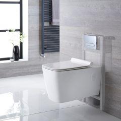 Sandford Hangend Keramiek Toilet Rechthoekincl Inbouwreservoir ( Large) en Keuze Spoelknop