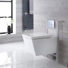 Halwell Hangend Keramiek Toilet Vierkant incl Inbouwreservoir ( Large) en Keuze Spoelknop