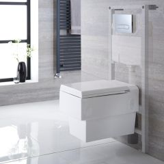 Haldon Hangend Keramiek Toilet Vierkant incl Inbouwreservoir ( Large) en Keuze Spoelknop