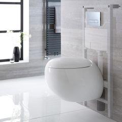 Langtree Hangend Keramiek Toilet Ovaal incl Inbouwreservoir ( Small) en Keuze Spoelknop