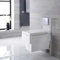 Haldon Hangend Keramiek Toilet Vierkant incl Inbouwreservoir ( Small ) en Keuze Spoelknop