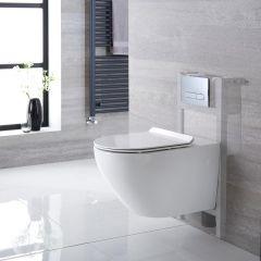 Otterton Hangend Keramiek Toilet Ovaal incl Inbouwreservoir ( Small ) en Keuze Spoelknop