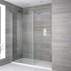 Two Piece Wall-Mounted Glass with Support Arm with white walk in  tray and chrome profile - 1400 x 900