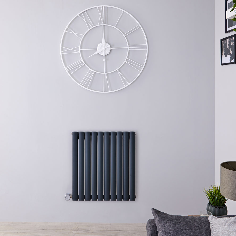 Designradiator Elektrisch met Thermostaat Horizontaal Antraciet 63,5cm x 59,5cm | Revive