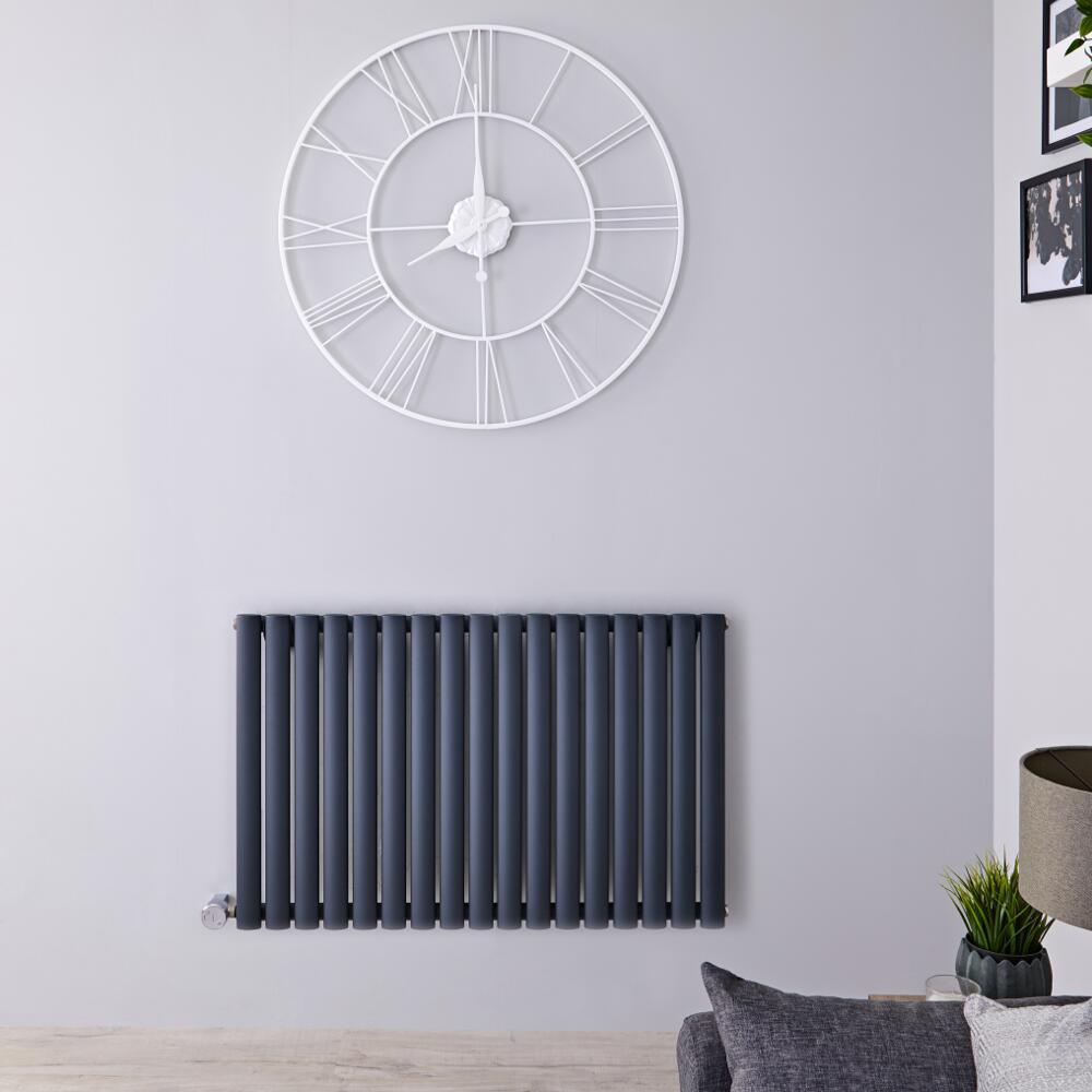 Designradiator Elektrisch Thermostatisch Horizontaal Antraciet 63,5cm x 100cm | Revive