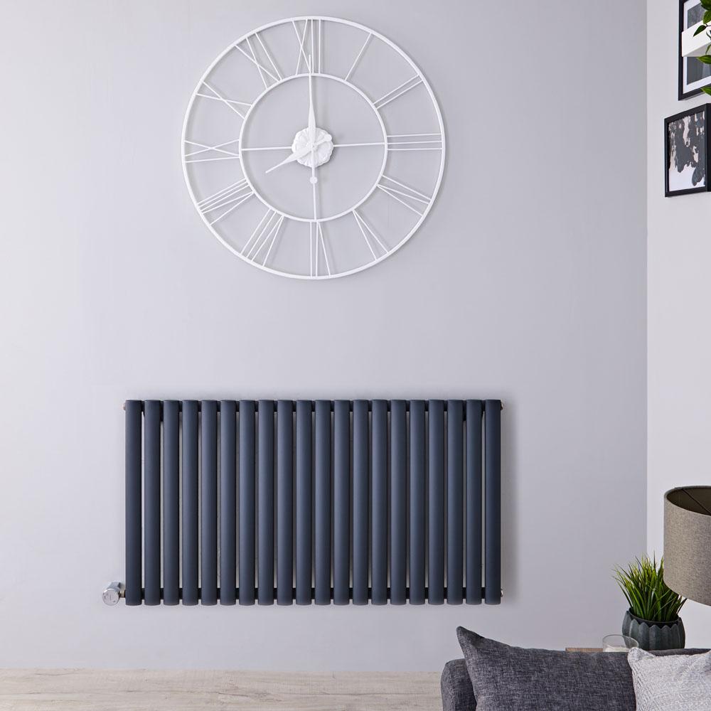 Designradiator Elektrisch met Thermostaat Horizontaal Antraciet 63,5cm x 118cm | Revive