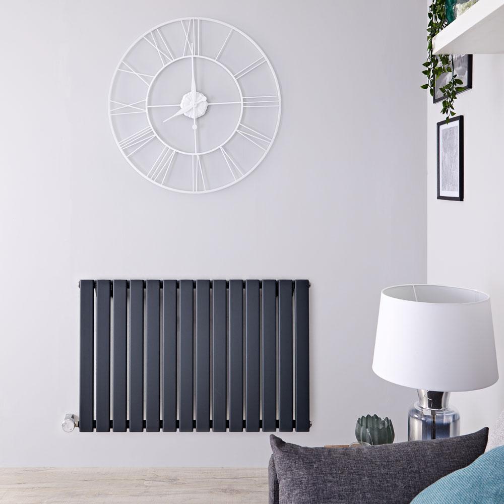 Delta Designradiator Elektrisch Horizontaal Antraciet 63,5cm x 98cm x 4,6cm