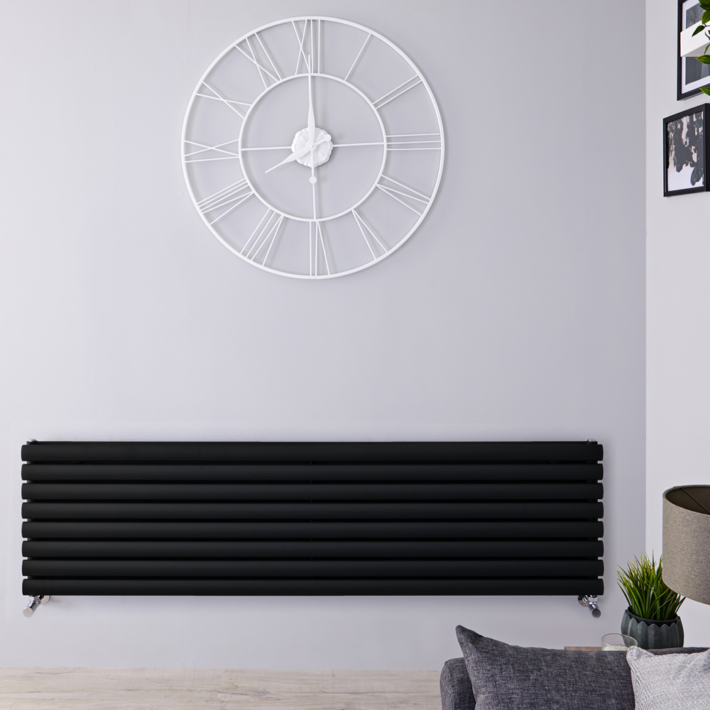 Designradiator Horizontaal Mat Zwart 160cm x 47,2cm 1611 Watt | Revive