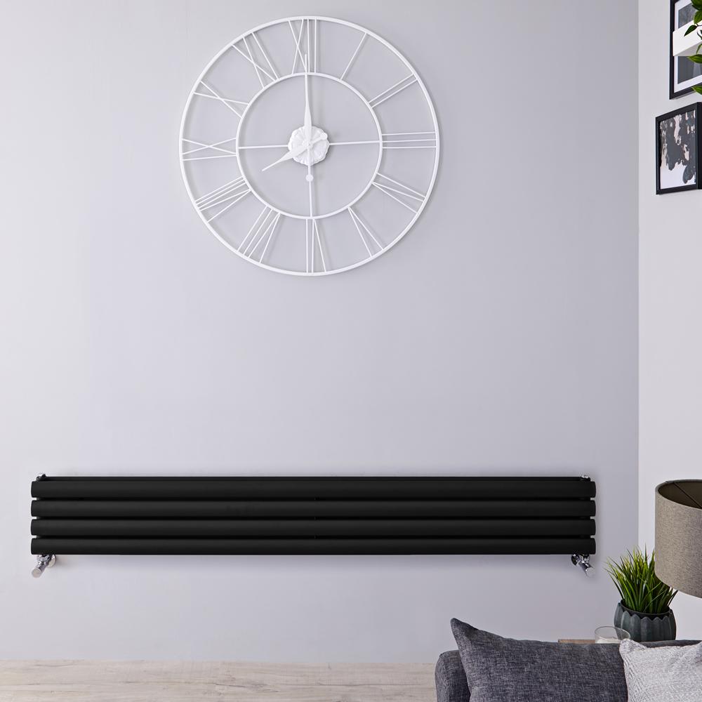 Revive Designradiator Horizontaal Zwart 23,6cm x 160cm x 7,8cm 815 Watt