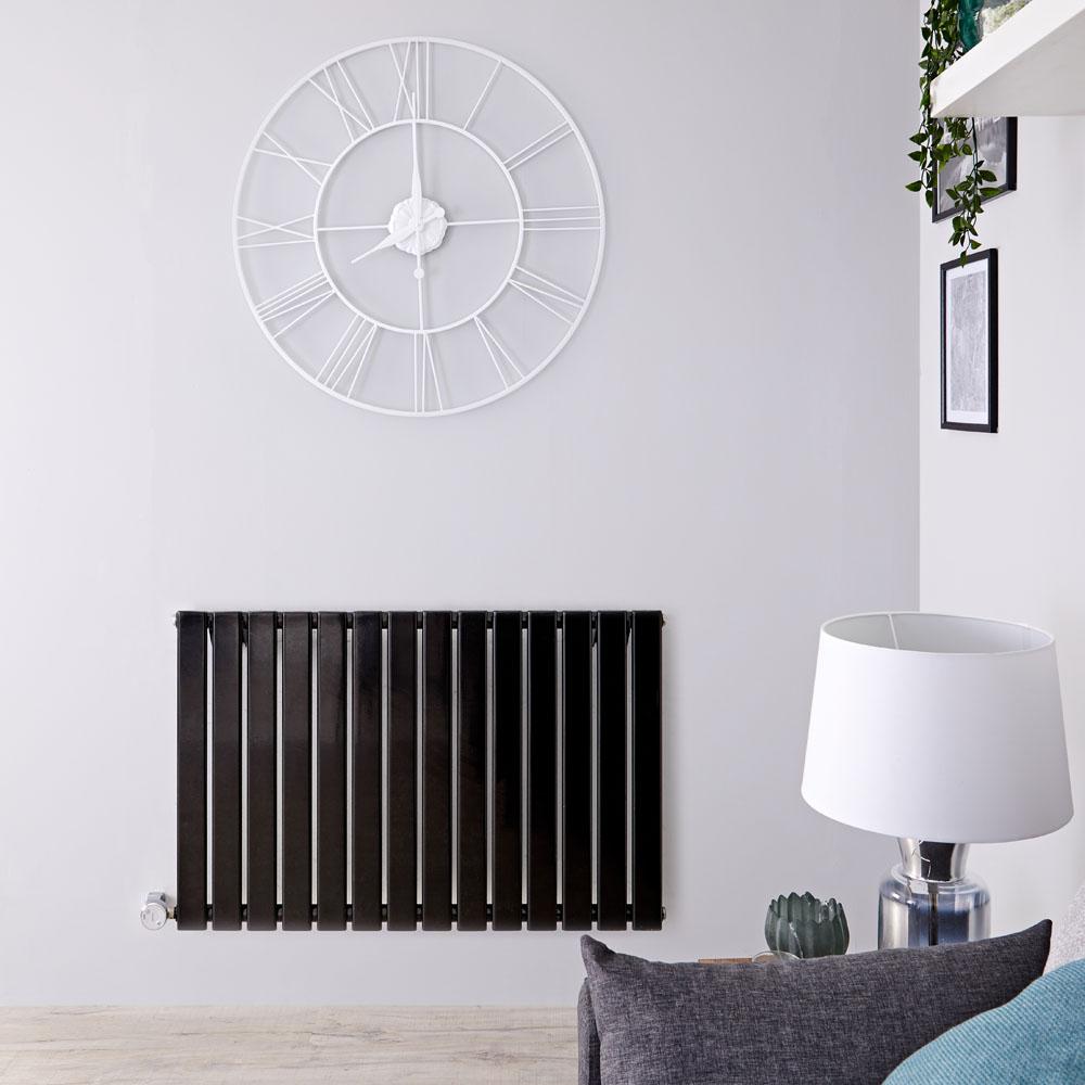 Designradiator Elektrisch met Thermostaat Horizontaal Zwart 63,5cm x 98cm | Delta