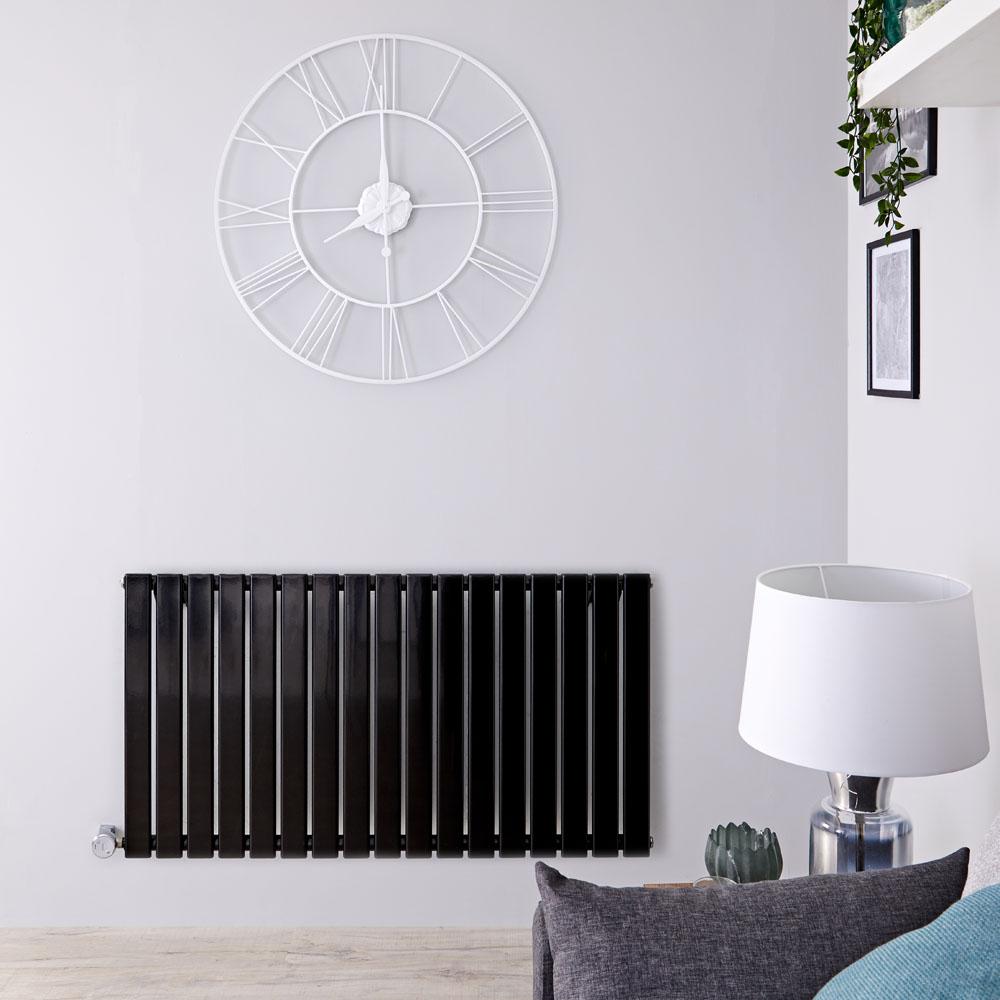 Delta Designradiator Elektrisch Horizontaal Zwart 63,5cm x 119cm x 4,6cm