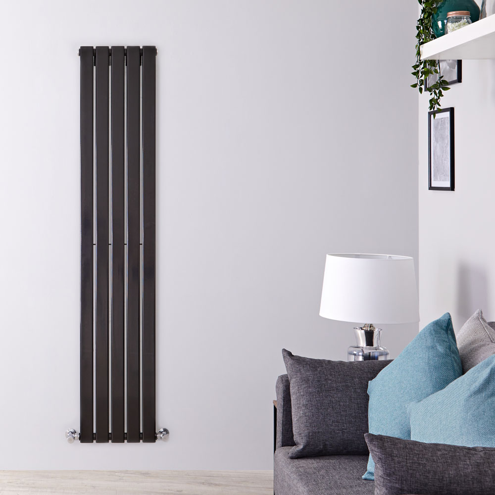 Delta Designradiator Verticaal Zwart 160cm x 35cm x 4,7cm 733 Watt