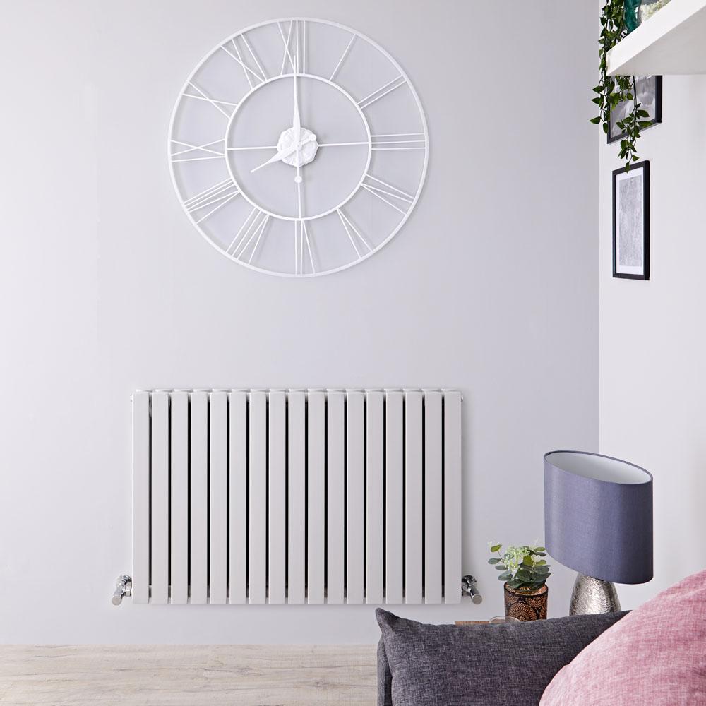 Sloane Designradiator Horizontaal Dubbel Paneel Licht Grijs 63,5cm x 100cm x 7,1cm 1022 Watt