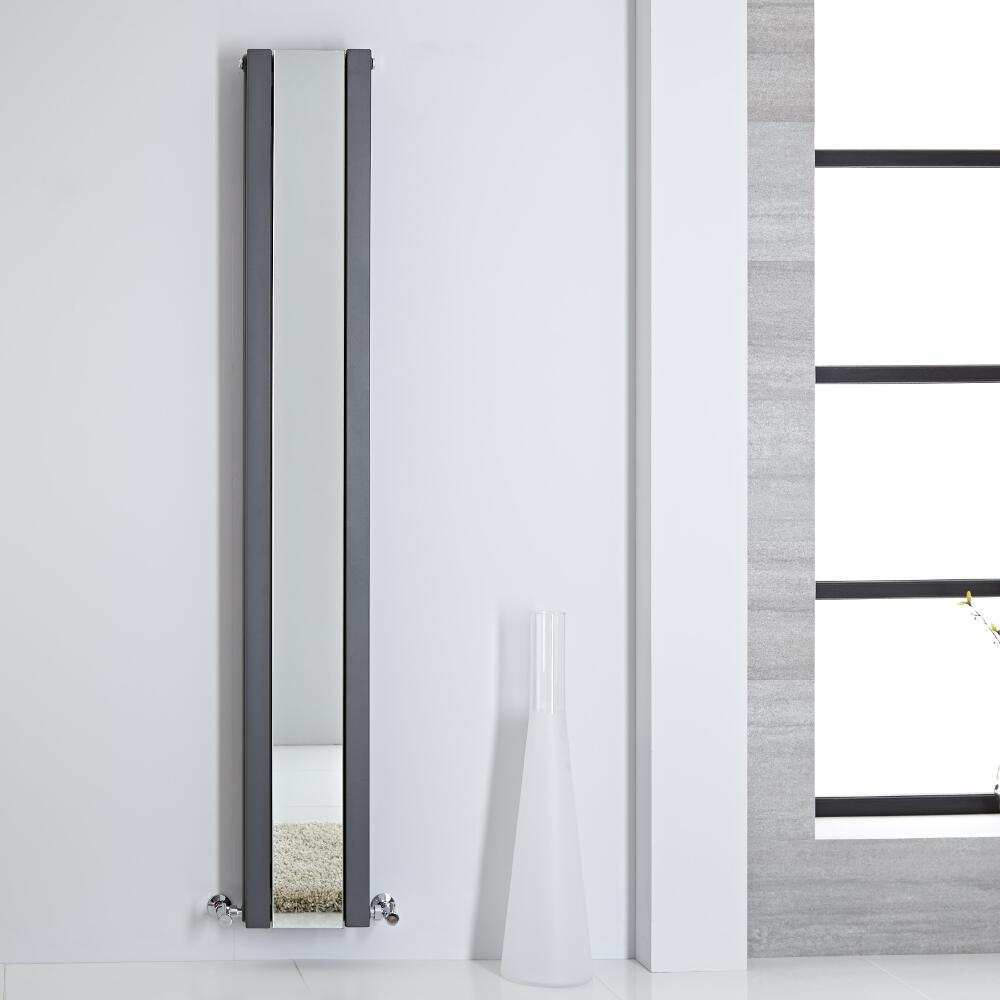 Sloane Spiegelradiator Verticaal Dubbelpaneel 180cm x 26,5cm x 7,2cm Antraciet 901Watt
