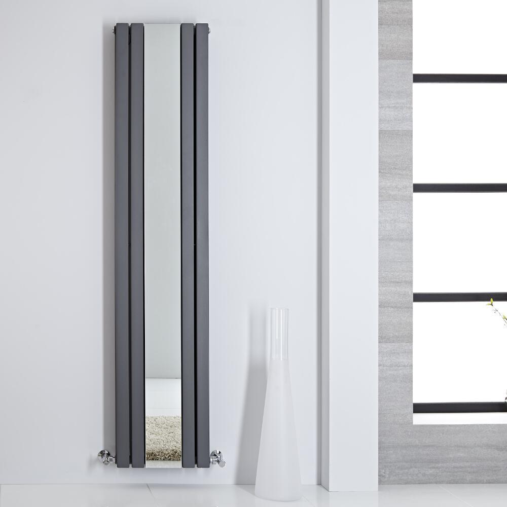 Sloane Spiegelradiator Verticaal Dubbelpaneel Antraciet 180cm x 38,5cm x 7,2cm 1344 Watt