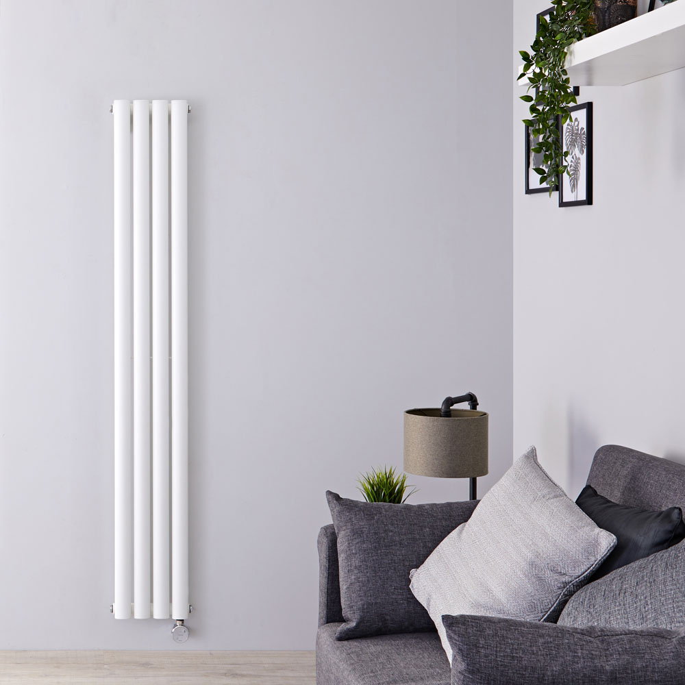 Designradiator Elektrisch met Thermostaat Verticaal Wit 160cm x 23,6cm | Revive