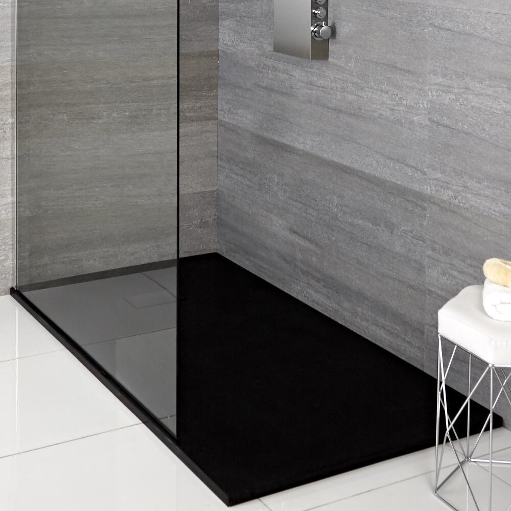 Hudson Reed rechthoekige douchebak met grafieten steeneffect afwerking - 140 x90 cm