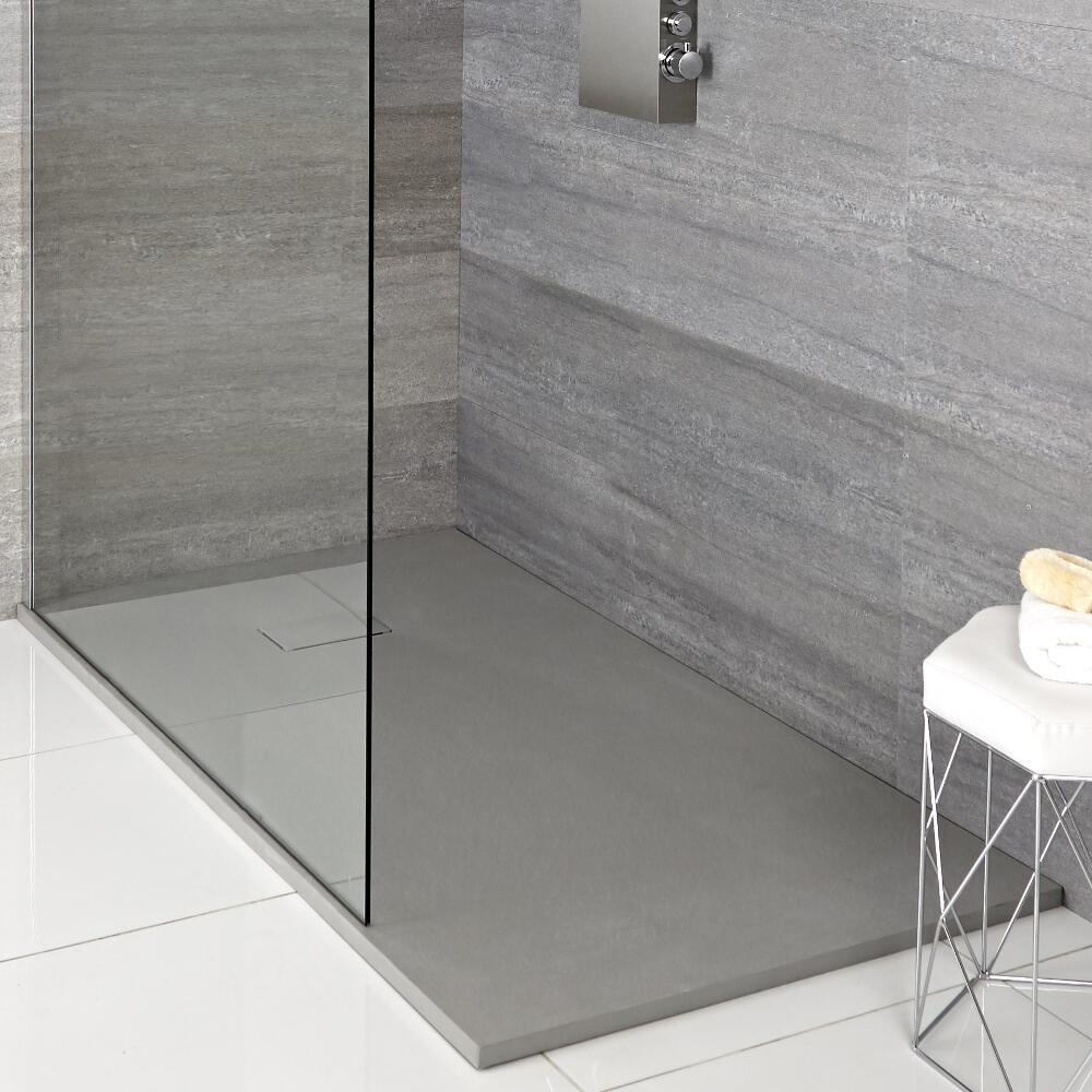 Rechthoekige Douchebak Met Lichtgrijze Steeneffect Afwerking - 100cm x 80cm