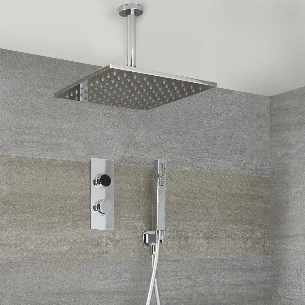 Narus - 2-weg Digitale Thermostaatkraan 40 x 40cm Regendouchekop Plafondbevestiging &  Handdouchecombi
