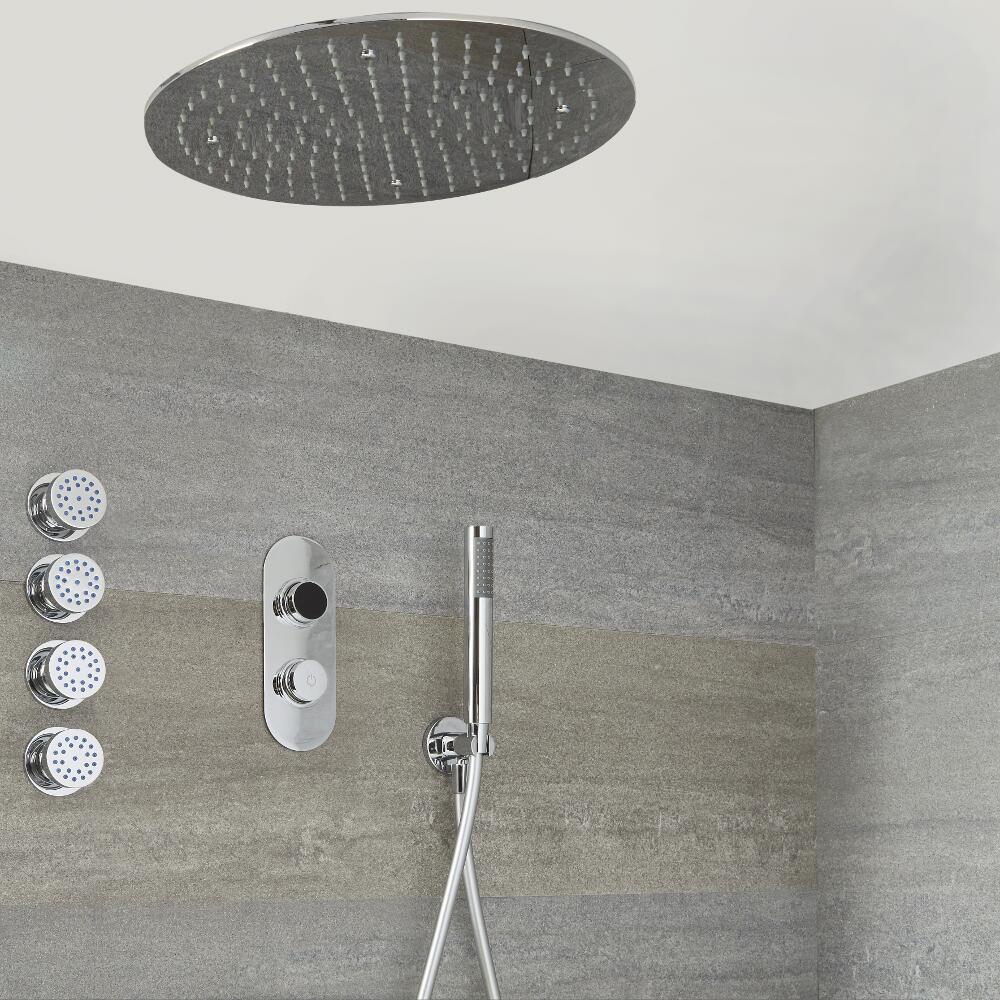 Narus - 3-weg Digitale Thermostaatkraan + d. 40cm Verzonken PlafondDouchekop  + Handdouchecombi & Bodyjets