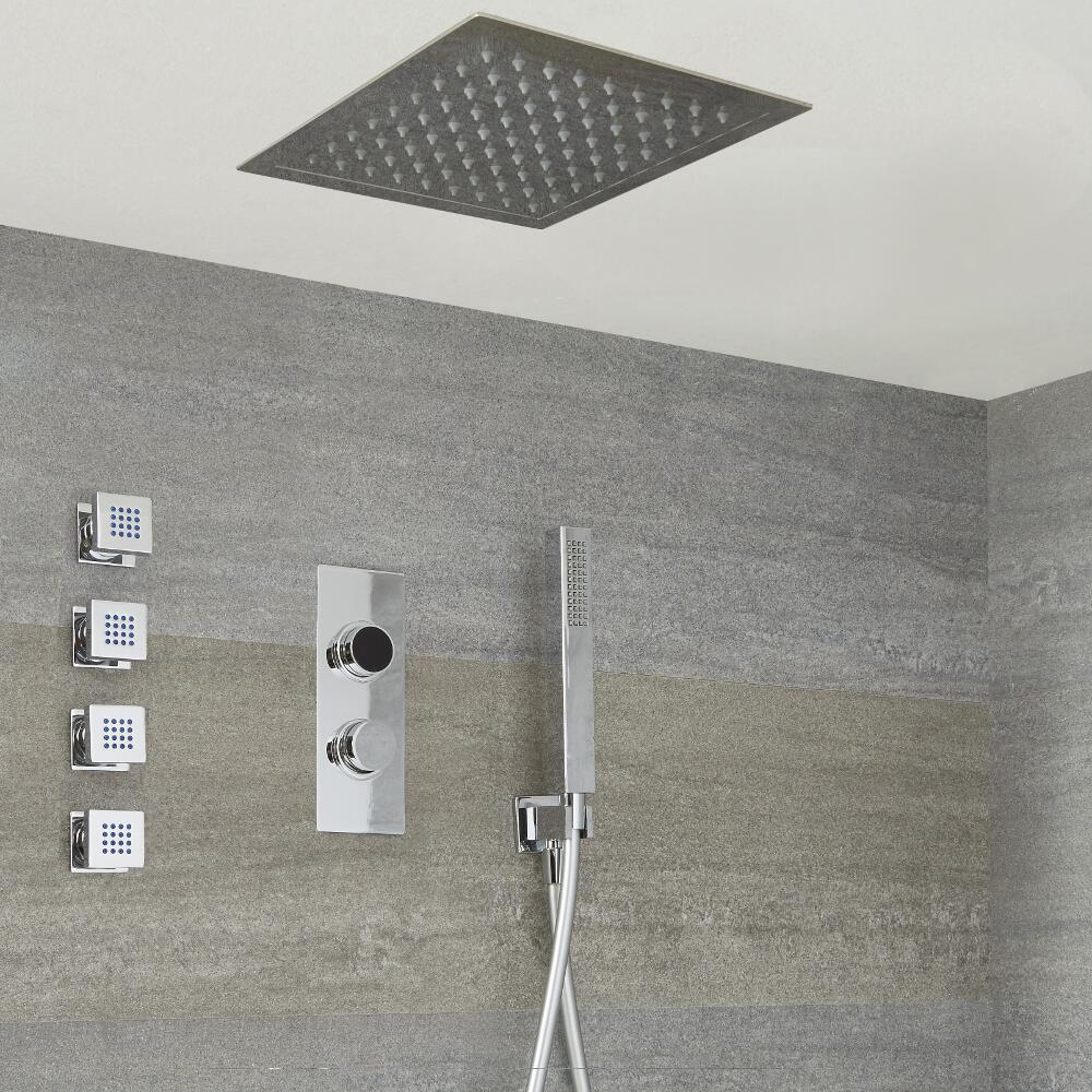 Narus 3-weg Digitale Thermostaatkraan + 28 x 28cm Verzonken PlafondDouchekop + Handdouchecombi & Bodyjets