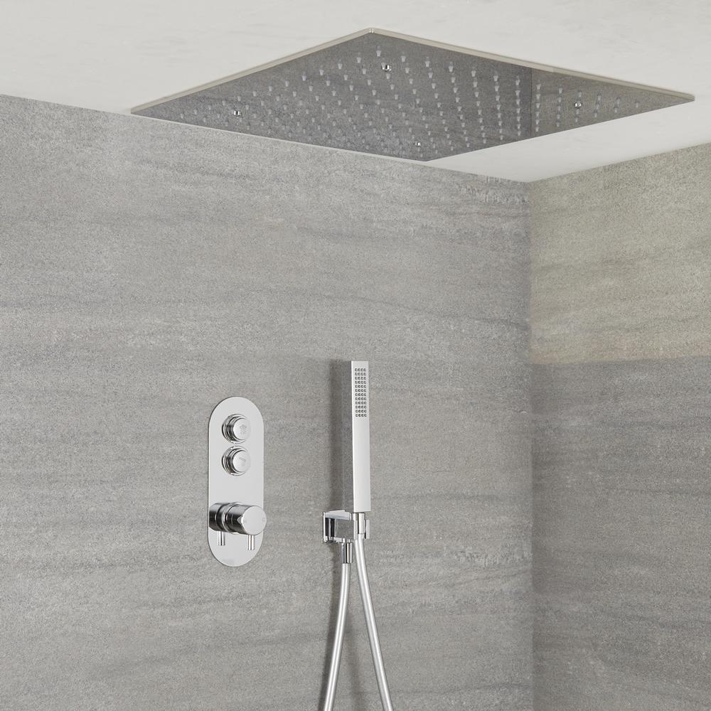 Idro  2-weg Thermostatische Drukknop Douche Handouche Combi & 50cm Verzonken Vierkante  Regendouchekop