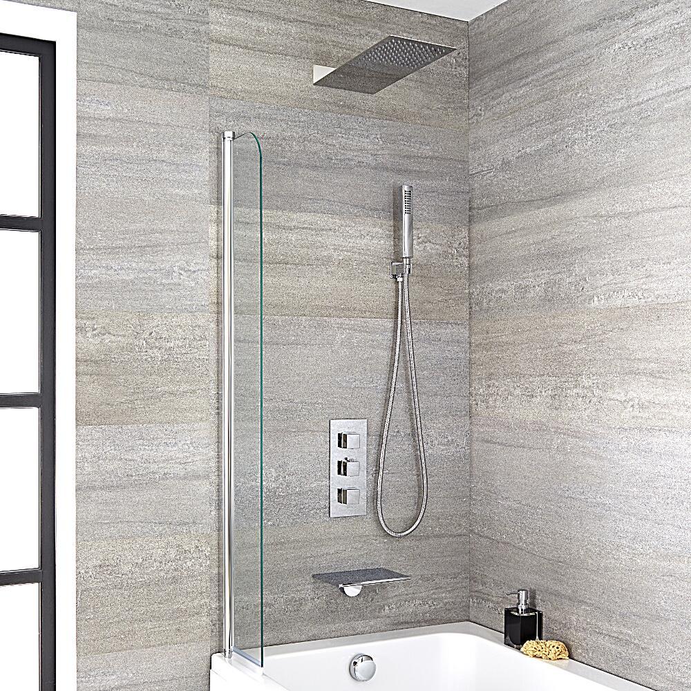 Douchekraan Thermostatisch Inbouw 3-Uitgangen met Douchekop, Handdouche en Badvuller met Waterval Chroom | Kubix