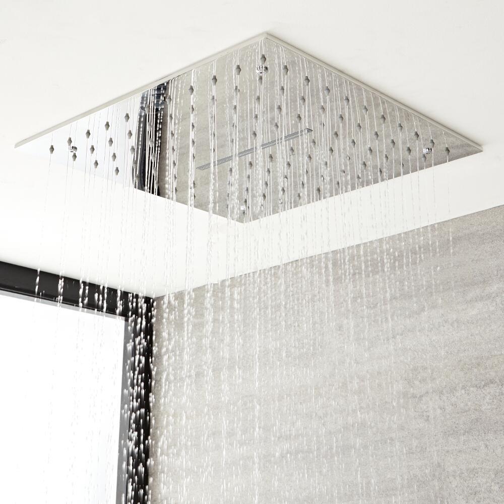 Douchekop Plafond met Waterval 40 x 40cm Chroom | Kubix