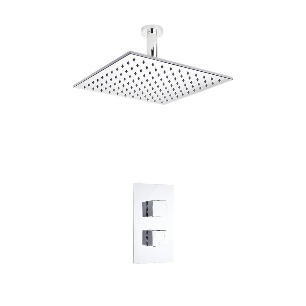 Hudson Reed vierkante 2 weg thermostatische douchekraan 300mm douchekop en plafondbevestiging