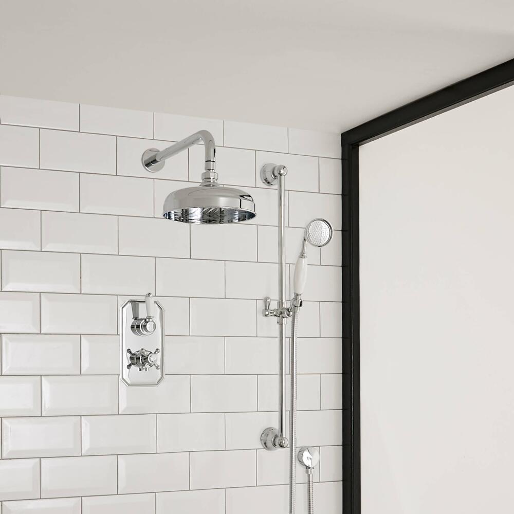 Klassieke Doucheset 1-Weg Inbouw Thermostaatkraan met Regendouchekop 15cm + Glijstanguitrusting