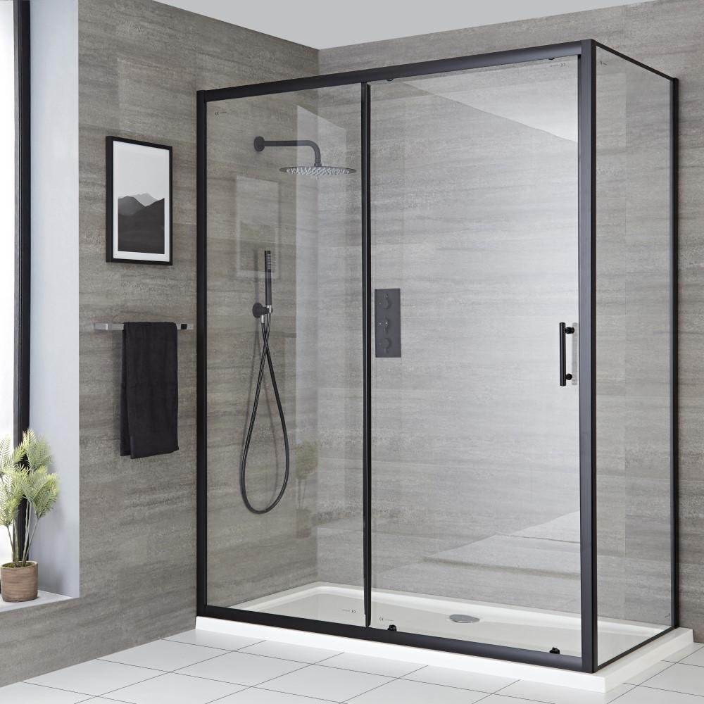 Doucheschuifdeur Zwart met Zijwand (Optioneel) | Kies de Afmeting | Nox