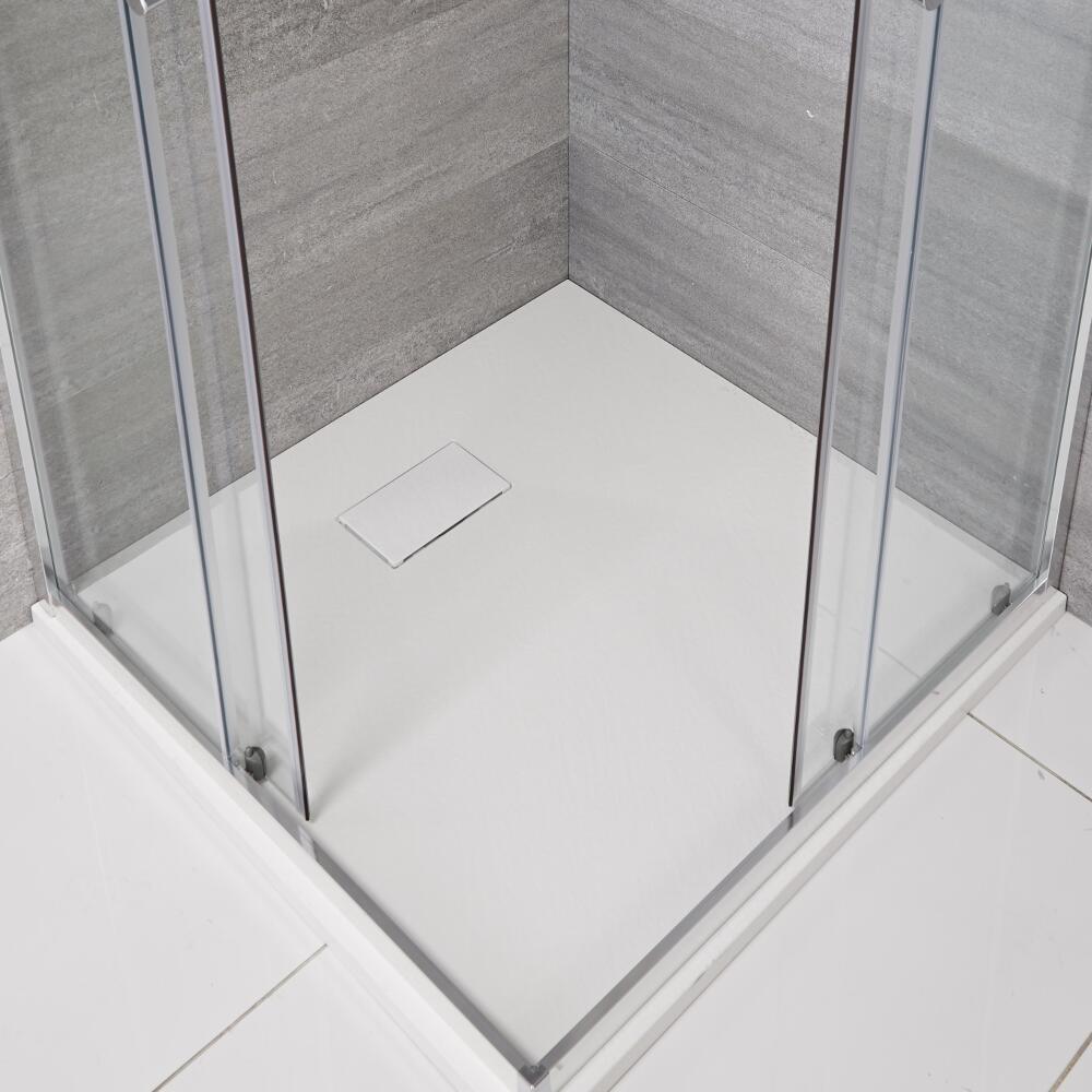 Vierkante Douchebak Met Matte Witte Steeneffect Afwerking 90 x 90cm
