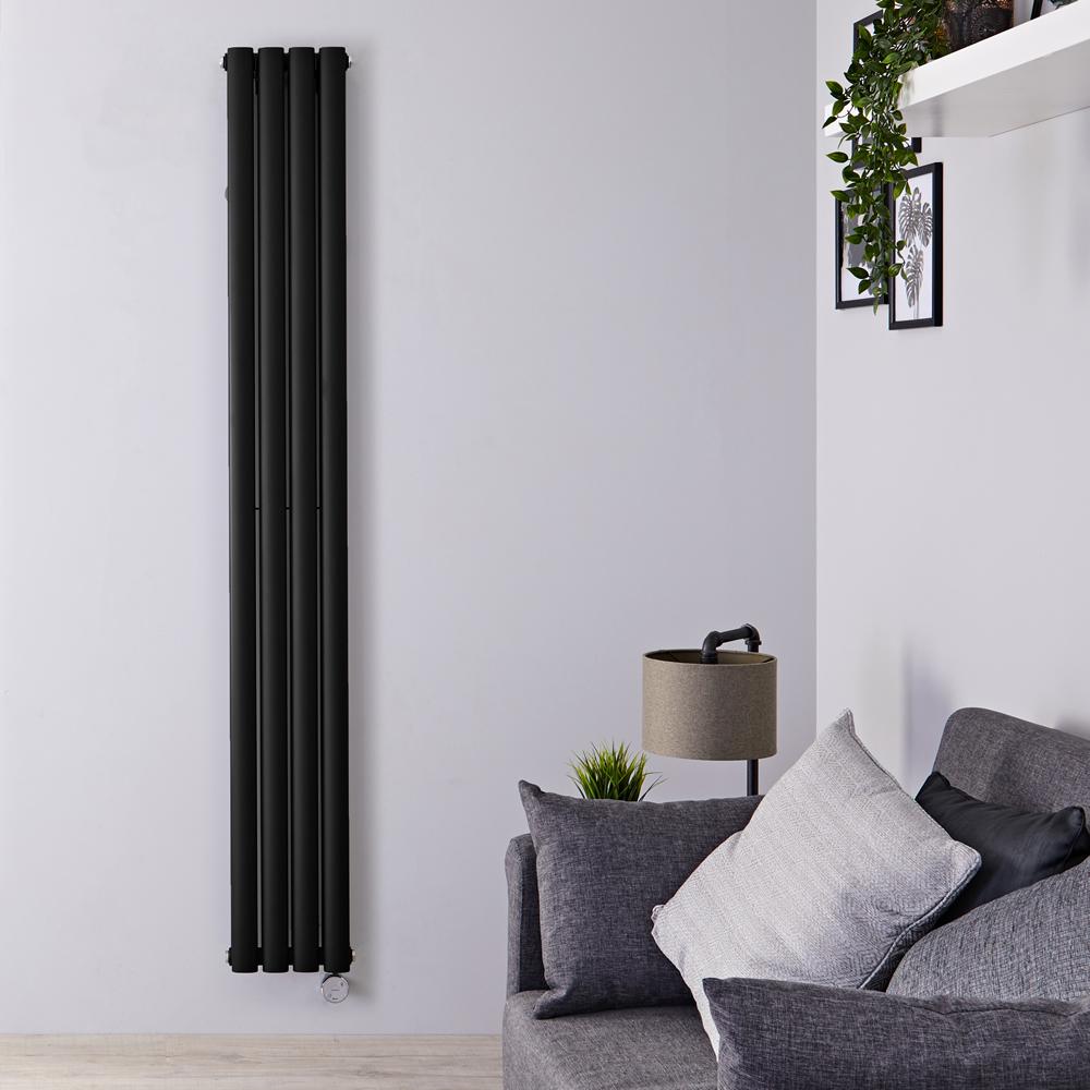 Designradiator Elektrisch Thermostatisch Verticaal Dubbelpaneel Zwart 178cm x 23,6cm | Revive