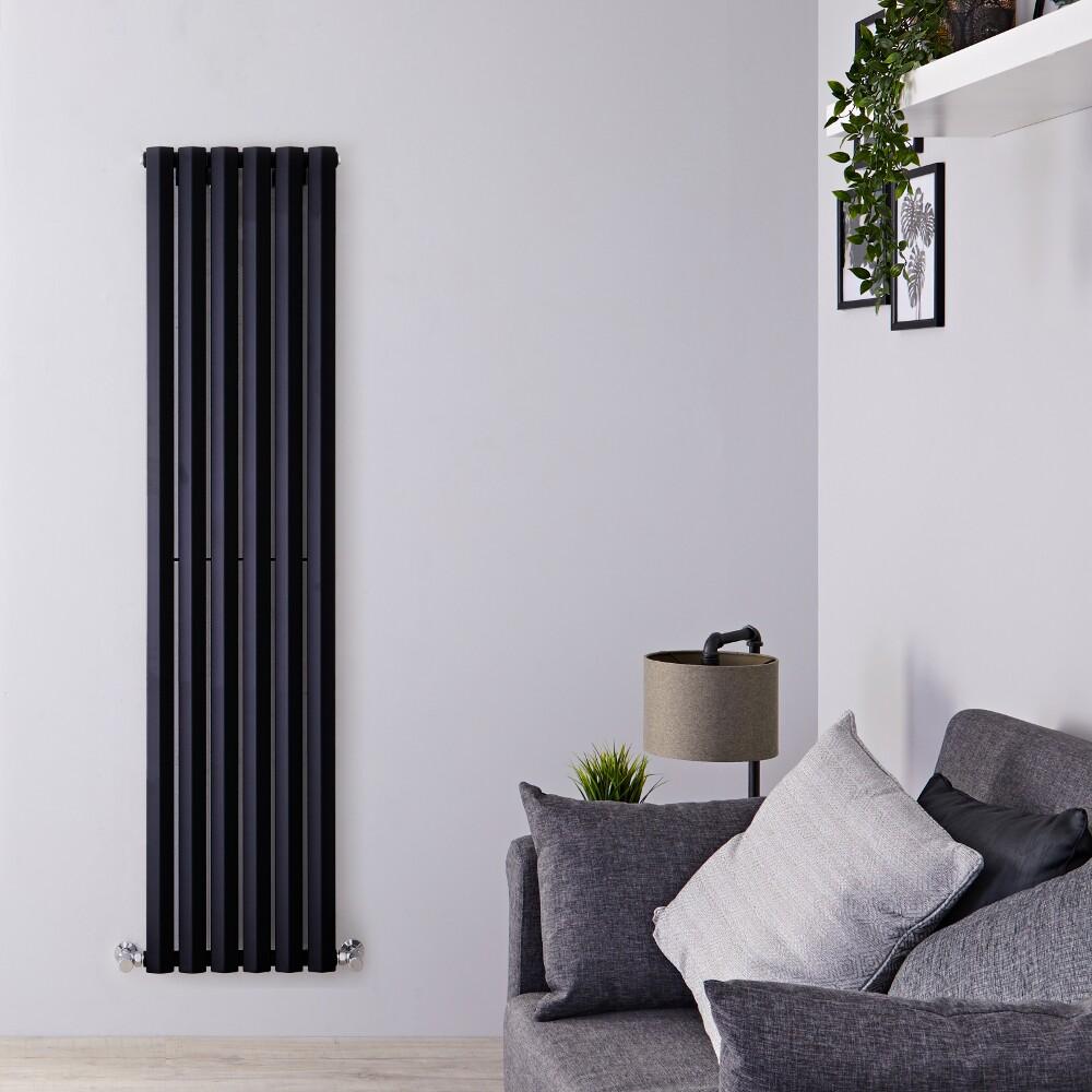Helius Designradiator Verticaal Zwart 178cm x 42cm x 6cm 1050 Watt