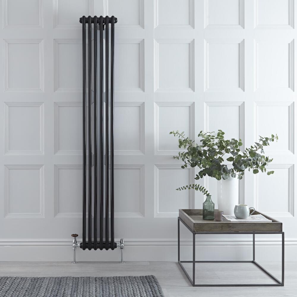 Windsor Designradiator Verticaal Klassiek Zwart 180cm x 29,3cm x 6,8cm 934 Watt