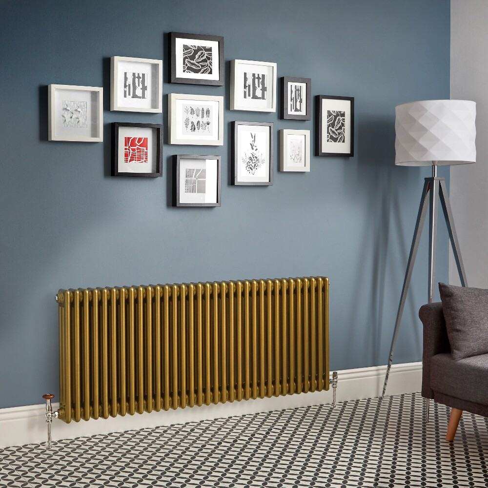 Kolomradiator Horizontaal Goud Metallic | Kies de Afmeting | Windsor
